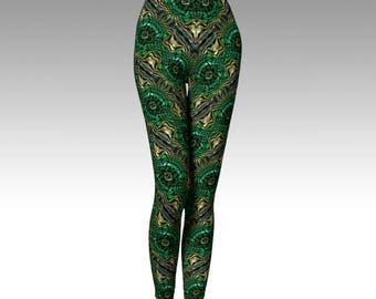 Green Leggings, Green Capris, Green Goddess, Nature Goddess, Yoga Pants, Activewear, Womens Leggings, Printed Leggings, Womens Fashion, Yoga