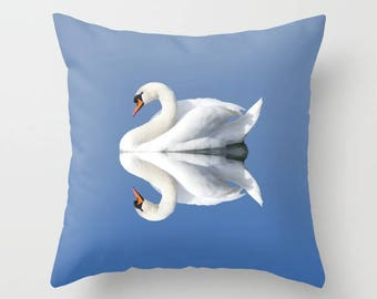 Swan Pillow, Water Pillow, Blue Pillow, Reflection, Pillow Case, Throw Pillow Cover, Couch Cushion, Sofa Cushion, Toss Pillow, Sofa Pillow