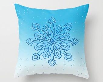 Snowflake Pillow, Pillow Cover, Pillow Case, Blue Pillow, Blue Ombre, Winter Pillow, Snowflakes Pillow, Christmas Decor, Winter Decor, Gift