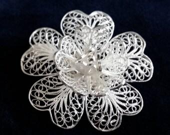 Floral Brooch Flor Magica, Sterling Silver Brooch, Filigree Brooch, Filigrana Cordobesa, Handmade Brooch, Flower Brooch, Christmas Gift Idea