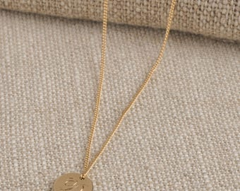 Small Double Sided Solid Gold Disc Initial Necklace