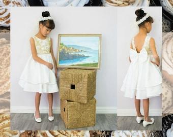 Girl Premium White Bridal Satin Ruffles Gold Flower Lace Dress Gown, Wedding Flower Girl, Special Occasion, Christening, Communion