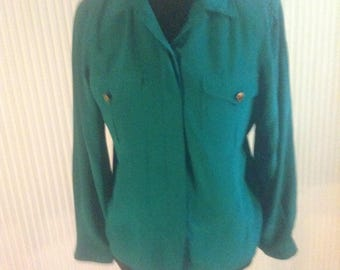 SK & Company Silk Blouse with shoulder pads