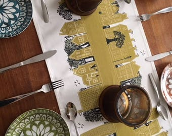 Mustard Table Runner-Street design Yellow Table decoration. Fabulous designer tableware for fine dining and gorgeous tables. Gift idea