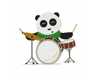 Panda bear on drums embroidery design