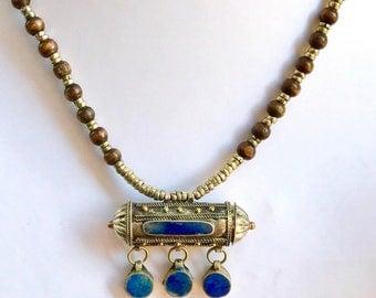 lapis lazuli tribal necklace, kuchi jewellery,ethnic necklace ,bohemian necklace, lapis pendant, gift, pendant necklace, gypsy necklace