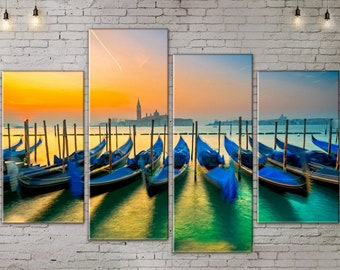 4 piece wall art, Extra Large Art, Seascape, Boats, Canvas Art, Interior Art, Living Room Decor, Large Print Wall Art , Art Print on Canvas