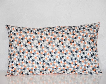 Pillow cover - 50 x 30 cm - Double sided - Scandinavian Style - blue, grey, orange and white tones