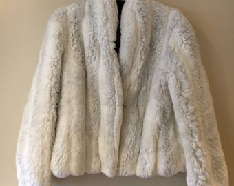 Vintage 80's White Faux Fur Jacket Coat Small/Medium