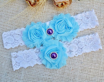 Light Blue Garter, Wedding Garter Blue, Wedding Garter Set, Something Blue, Lace Garter, White Wedding Garter, Blue Wedding Gift,Keep Garter