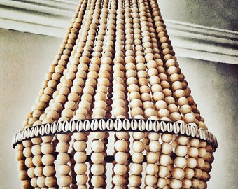 Wooden Beaded Shell Chandelier