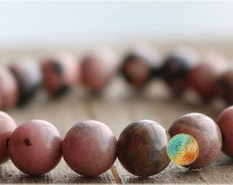 Rhodonite Bracelet, 8mm Natural Rhodonite bracelet, Black Lace Rhodonite bracelet, Beaded Gemstone Stretch Bracelet, Emotional balance stone