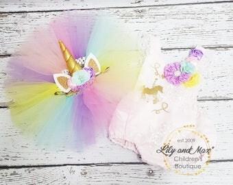 Unicorn Birthday Outfit, Unicorn headband, Unicorn Birthday tutu set, Unicorn Romper, Rainbow unicorn set, Unicorn Girls Costume