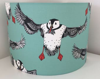 Hand made rolled-edge 'Atlantic Puffin' fabric lampshade
