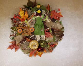 Fall Wreath, Thanksgiving Wreath, Scarecrow Wreath, Fall Decor, Thanksgiving Decor, Autumn Wreath, Autumn Decor