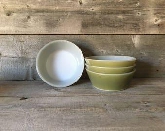 Vintage Federal Avocado milk glass ramekins/dessert dishes