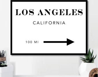Los Angeles Miles Print // Minimalist // Art // Typography // Fashion // Scandinavian Poster // Boho // Modern Office