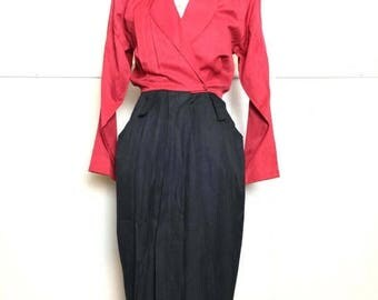 SALE 80s Colorblock Red & Black Dress