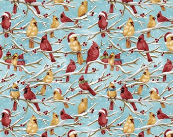 Christmas Fabric, Birds Fabric:  Fabri-Quilt Seasons Greeting Birds on Branches -  Cardinals 100% cotton fabric by the yard  (FQ169)