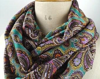 paisley infinity scarf rayon satin fabric, green viscose paisley loop scarf, shiny green paisley scarf