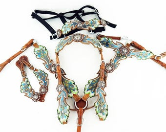 Feather Tooled Leather Western Horse Bridle Headstall Breast Collar Spur straps Wither Strap Bronc Halter Tack Set