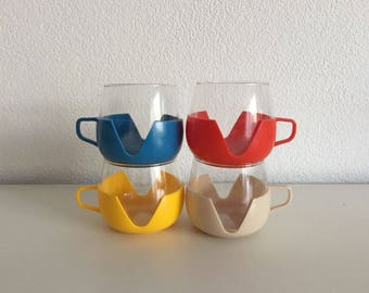 4 x sixties seventies tea cups glasses retro vintage glass tea cups space age Holland design