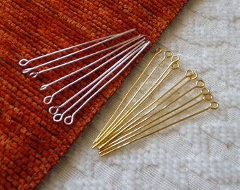 40mm Eye Pins, Gold Silver Copper Plated Eye Pins, Gold Eye Pins, Silver Eye Pins for Beading, Head Pins, Beading Supplies, Connectors