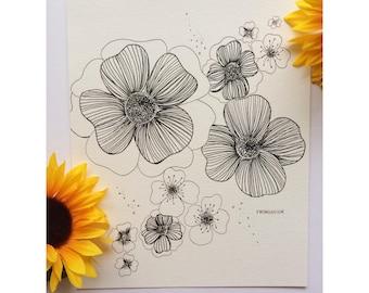 Black and White Flowers, Floral Illustration- Froggieflor