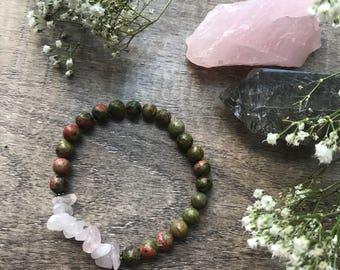 Unakite and Rose Quartz Wellness Bracelet