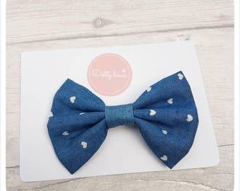 Denim fabric bow