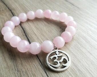 OM bracelet, AUM bracelet, Yoga bracelet, Spiritual bracelet, yoga jewelry,  Quartz jewelry, Quartz bracelet