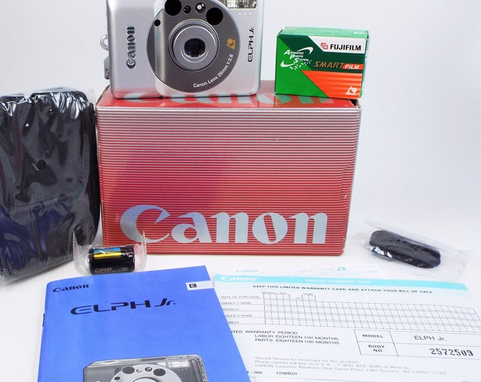 Canon ELPH Jr. APS Film Camera Outfit - Mint New in Box - Canon 26mm f/2.8 Lens - Owners Book - Case - Fujicolor Film & Batteries Included!