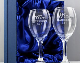 Personalised Mr and Mrs Engraved Wine Glass Set. An ideal wedding gift for the happy couple. Free UK Delivery
