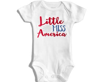 First 4th of July baby outfit - Baby girl outfit - Fourth of July baby girl - Little miss America - My first fourth of July - 4th of July