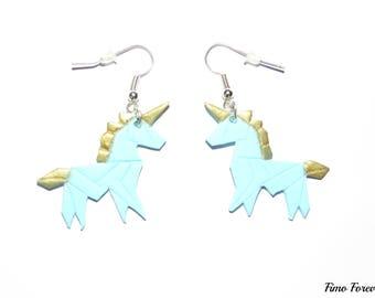 Unicorn blue & gold earrings