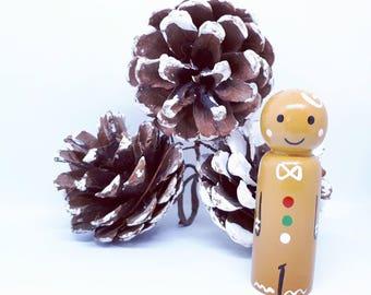 Handpainted wooden Gingerbread man peg doll christmas pegdoll