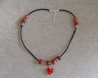 Leather cord black beads necklace red murano heart red rhinestone Crystal