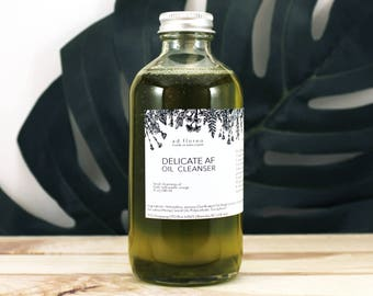 Oil Cleanser: DELICATE AF - oil cleanser Canada, hemp seed oil, white camellia flower Canada, vitamin E, sunflower, gentle oil cleanser