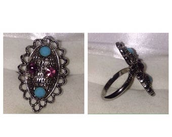 On Sale Vintage Silver Tone Stone Ring