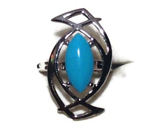Vintage Silvertone and Turquoise Statement Ring
