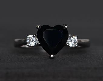 natural black spinel ring promise ring black gemstone ring heart cut gemstone
