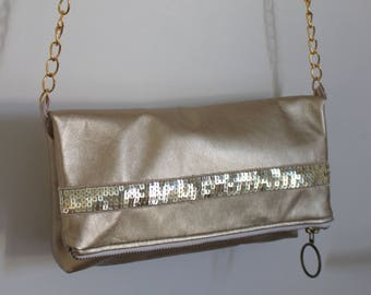 Gold glitter band Gold leatherette clutch purse
