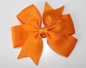 Orange hair bow clip for girl