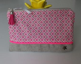 Graphic linen pouch