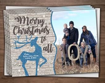 Glitter Deer Christmas Card / Merry Christmas to All / 5x7 Photo Card