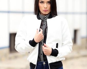 Bomber Jacket/ white jacket / Jacket/Casual jacket / White top