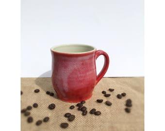 Pottery mug, handmade mug, stoneware, ceramic mug, red mug, coffee cup, wheelthrown pottery, ceramics, pottery,