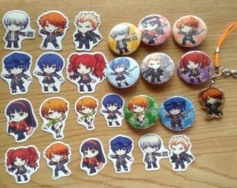 Persona 4 Gift Set, Persona 4 Bundle Set, anime gift set, anime bundle, holiday gift set, persona 4 charm, persona 4 pins, persona 4 sticker