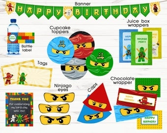 Ninjago party supplies Ninjago banner Ninjago party favors Printable digital files