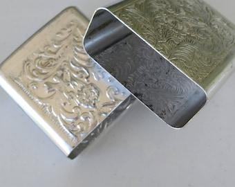 Floral Etched cigarette case//Aluminum Etched case//Woman's Cigarette case//1980's case// C.A.A.L.P.China